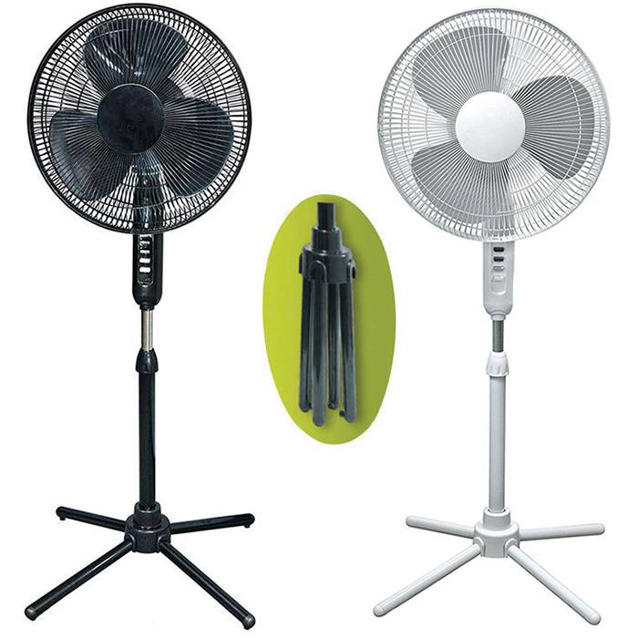 Pedestal Fan Oscillating Stand Fan Quiet Indoor Air Cooler Black/White