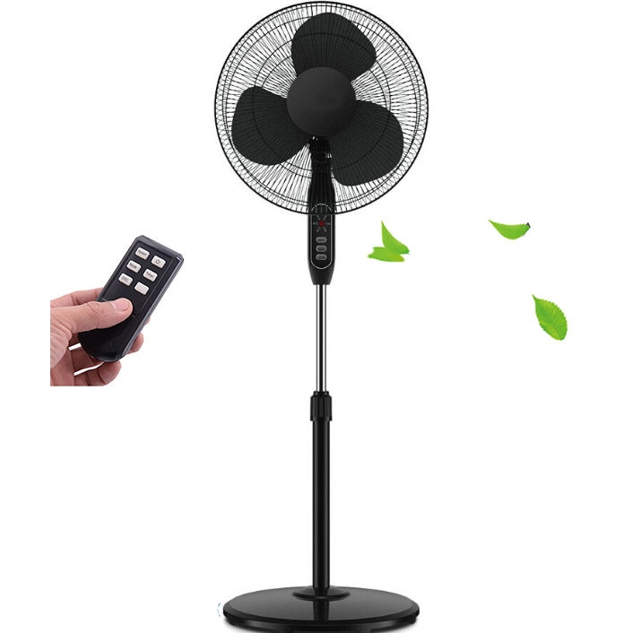 Oscillating Fan Black Stand Fan Pedestal Remote Control Timer Quiet